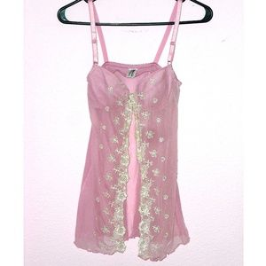 Light Pink & White Lace Open Front Sheer Babydoll